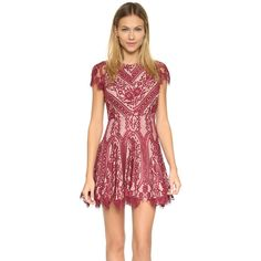 STYLESTALKER Vivid Circle Dress (€210) ❤ liked on Polyvore featuring dresses, rouge, lace cap sleeve dress, red open back dress, lace dress, cap sleeve dress and floral cocktail dress
