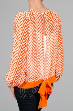 Orange Chevron Blouse~I think I can figure out how to make this or do to a top I already have!!