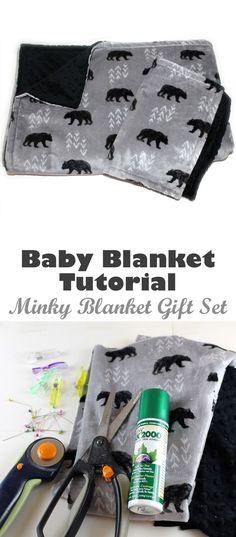 bear minky baby blanket baby blanket gift set tutorial- minky tips- woodland n Baby Blanket Tutorial, Minky Baby Blanket, Baby Blanket Crochet, Diy Minky Blankets, Baby Blankets, Crochet Baby, Baby Girl Shower Themes, Baby Boy Shower, Baby Shower Gifts