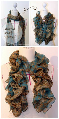 DIY Easy Shirred Scarf Tutorial from This Blog Is Not For You here. Beyond easy tutorial for lightweight summer scarves or material.