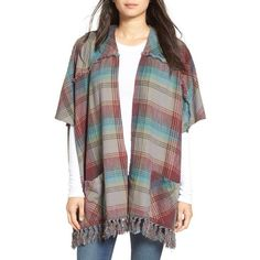 Women's Billabong 'Forever Fall' Plaid Kimono Cardigan ($65) ❤ liked on Polyvore featuring tops, cardigans, thunder cloud, cardigan kimono, cardigan top, brown tops, billabong cardigan and tartan top
