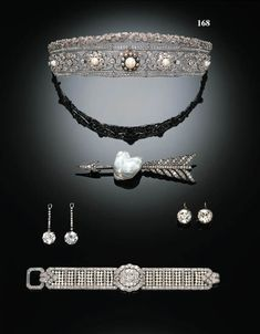 A belle epoque tiara from 1910, featuring diamonds, and black and white pearls. The upper tier of this tiara is designed as leaf and crossed ribbons in pave set diamonds. The middle tier is a series of pearls, surrounded by circular diamonds, except for the central flower, which is a larger white pearl surrounded by black pearls. All of which is supported by a diamond band. Price Realized $31,048 Estimate $17,762 - $24,867