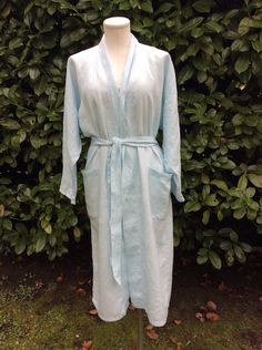 Kimono style bathrobe and summer coatMade In Vancouver from European linen. Kimono Fashion, One Size Fits All, Light Blue, Fashion Accessories, House Styles, Beautiful, Pastel Blue, Light Blue Color