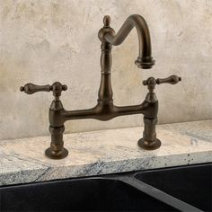Charelstown Bridgestyle Handle Parisian Bronze Kitchen Faucet - Bridge faucets for kitchen
