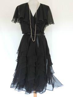 Vintage Lucero 20s 30s Floaty TEA Dress Cape Collar Flapper Charleston Gatsby | eBay