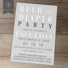 Printable Beer and DIaper Party Invites / guy friendly / coed baby shower by greylein