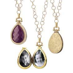 Monica Rich Kosann - 18K YELLOW GOLD TEARDROP STONE LOCKET WITH FACETED RUBY