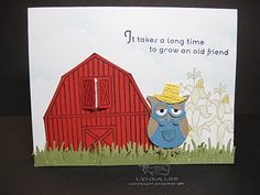 Owl FARMER.... I love the overalls and how the embossing on the hat does make it look like a straw hat!
