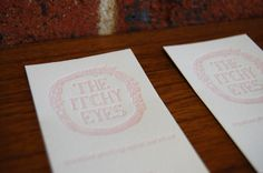 The Itchy Eyes Business Cards {Letterpress} {Designed by The Itchy Eyes. Printed by Little Peach Co.} Printing: One Colour on Crane & Co. Fluoro White 300gsm. How amazing did this hand-sketched logo turn out in letterpress? We love that fine detail!