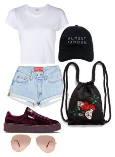 """almost famous"" by natalie-nunez80 on Polyvore featuring RE/DONE, Puma, Ray-Ban, Nasaseasons and Monki"