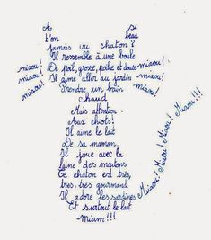 Calligramme – Guillaume Apollinaire Calligramme – Guillaume Apollinaire - fonts and calligraphy Poema Visual, Shape Poems, Teaching French, Cat Drawing, Mail Art, Crazy Cat Lady, Word Art, Typography, Writing