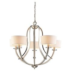 Polished nickel chandelier.   Product: Chandelier   Construction Material: Metal and fabric   Color: ...