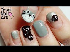 [토토로 네일아트] となりのトトロネイル / My Neighbor Totoro Nails Cat Nail Art, Animal Nail Art, Cat Nails, Nail Polish Designs, Cute Nail Designs, Garra, Anime Nails, Nail Art For Kids, Totoro