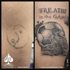 Did this to a State player of football.. He had this yingYang tattoo long back.. He wanted some inspiration quote n we cracked this out.. Now he says he can take off his shirt after a goal ☺️♠️ www.acetattooz.com Artist : #ArchanaBhanushali  Placement : Arm
