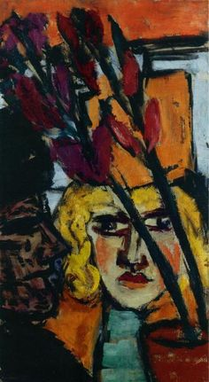 MAX BECKMANN  Zwei Frauen mit Blume (Two Women with Flower)