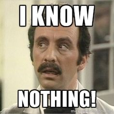 Manuel fawlty towers - I know Nothing! British Tv Comedies, Classic Comedies, British Comedy, Haha Funny, Funny Memes, Hilarious, Bbc, Monty Python, Movies