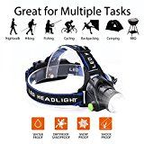 LED Waterproof Headlamp Flashlight Rechargeable Zoomable Headlamps Adjustable Cree T6 Headlight for Camping Hiking Hunting Running Working Outdoor Sports with 18650 BatteriesCharger and USB Cable