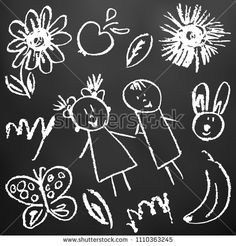 Children's drawings. Elements for the design of postcards, backgrounds, packaging. Printing for clothing. Drawing chalk on a black board. Flowers, children, butterfly, banana #shutterstockportfolio #shutterstocknow #шаттер #microstock #bubushonok #art #bubushonokart #design #shutterstock #crayon #crayons #vector #chalk #childlike #childish #doodle #sketch #kids