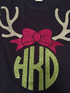 Reindeer Monogram - use CAD-CUT Glitter Flake and a heat press to recreate this look.