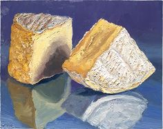 """""""Off Kilter"""" This is """"a beer-washed beauty"""", according to the cheesemaker, Dylan Stanfield who sent this to me from Mt Townsend Creamery in WA. Available for sale at: mikegeno.com  #cheese #CheesePortrait #cheeseart #cheesepainting #foodart #foodpainting #OffKilter #artisanalcheese"""
