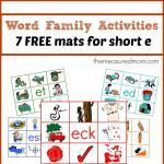 Word Family Activities -- Free Read 'n Stick Mats for Short e