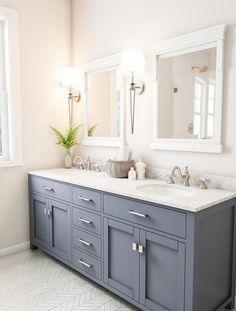 Dark Blue Bathrooms, Blue Bathroom Decor, Silver Bathroom, Bathroom Styling, Bathroom Storage, Bathroom Accessories, Bathroom Ideas, Grey Bathroom Cabinets, Blue Bathroom Vanity