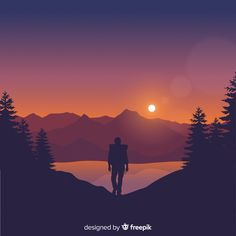 Explorer with backpack | Premium Vector #Freepik #vector #nature #sport #character #mountain Person Silhouette, Pine Tree Silhouette, Sunset Background, Art Background, Forest Sunset, Sunset Landscape, Travel Logo, Explorer, Abstract Nature