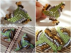 """How to weave a """"gimlet"""" triangle with different size beads.  Pair this with the simple triangle tute.(translate)  #Seed #Bead #Tutorials"""