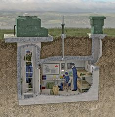 Cutaway illustration showing the interior of a typical Royal Observer Corps underground nuclear monitoring post or bunker. #bushcraftundergroundshelter