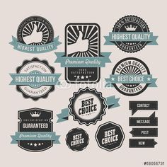 Vector: Vintage labels and ribbon retro style set
