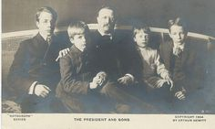 This vintage real photo postcard features Pres. Theodore Roosevelt posing with his four sons. Teddy Roosevelt valued his kids and his parental role and was known to keep important visitors to his Presidential home (Sagamore Hill) waiting so that he could finish playing with the children. His son's names in age order are Theodore, Kermit, Archibald, and Quentin. This postcard was produced in 1904 by the Rotograph Company (no.B 559). The photographer was Arthur Hewitt.