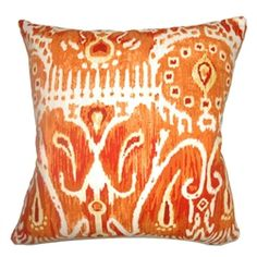 This unique and bright throw pillow will surely lighten up your mood. This square pillow features a traditional ikat print pattern in a Pumpkin colored background. The combination of red, orange and white makes this a vivid accent piece. This decor pillow is soft and comfy because it's made from 100% cotton fabric.  Just $55.  #orangepillow  #ikatprint  #ikat  #pillows