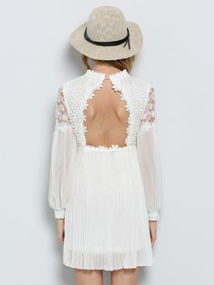 White Long Sleeve Embroidered Bead Lace Dress