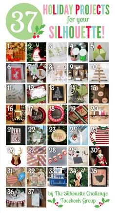 37 Holiday Projects with your Silhouette from the Silhouette Challenge group!
