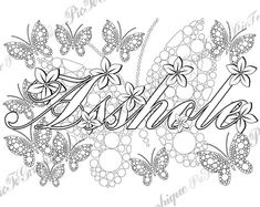 "Asshole Adult Coloring Page The swearing words ""Asshole"" Doodles - 2 background white and black by PicToGraphique on Etsy"