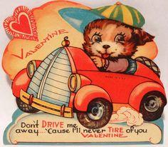 40s Dog in Art Deco Car Automobile Vintage Diecut Valentine Card