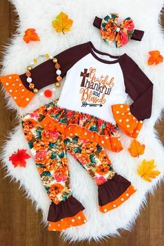 """Grateful, Thankful and Blessed"" Floral Boutique Set Cute Baby Girl Outfits, Cute Outfits For Kids, Baby Girl Dresses, Baby Girl Fashion, Toddler Fashion, Baby Girl Thanksgiving Outfit, Baby Girl Closet, Daddys Little Princess, Christmas Tee Shirts"