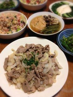 無国籍晩ごはんになってしまったが、お供は日本酒~ - 9件のもぐもぐ - ラムクミン炒め、クスクスサラダ、インゲンとガンモ煮、ピーマン塩きんぴら by raku0dar