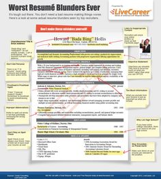 Worst ever resume blunders you need to avoid [INFOGRAPHIC] #Resume #Interview #Tips