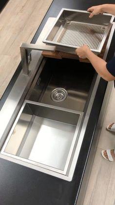 chopping board and strainer accessory. Smart Kitchen, Modern Kitchen Sinks, Kitchen Pantry Design, Diy Kitchen Storage, Modern Kitchen Design, Home Decor Kitchen, Interior Design Kitchen, Franke Kitchen Sinks, Single Sink Kitchen