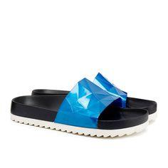 cbf9cd280ec525 UNITED NUDE Lo Res Blue Metallic Slide Sandals