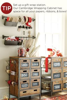 Organize gift wrap with this handy cupboard, and use wall-mounted rods to hang ribbon and gift tags.