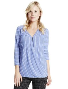 Motherhood Maternity Jessica Simpson 3/4 Sleeve Pull Over   Wrap Nursing Top