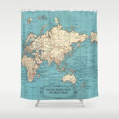Ventura county shower curtain california vintage map fabric australia centered world map shower curtain mercator historical map fabric turquoise home decor bathroom travel vibrant gumiabroncs