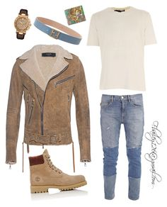 Untitled #797 by fbailey126 on Polyvore featuring polyvore, Love Moschino, Timberland, Gucci, Fendi, Versace, men\'s fashion, menswear and clothing