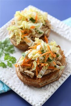 Slow Cooker Hoisin Shredded Chicken Sandwiches with Asian Slaw