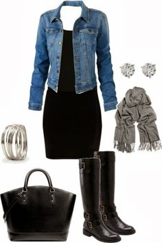 Black dress and boots with denim jacket just cool