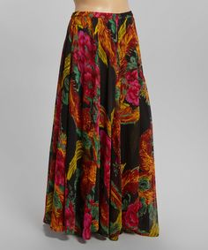 Look at this Black & Fuchsia Floral Maxi Skirt - Plus on #zulily today!