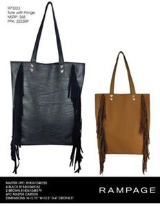 e78ad7032c6 RAMPAGE fringed tote. Colors black, cognac. MSRP  68.00. Price   14.95.  Fashions15Below · Handbags Under  15 · Beverly Hills Polo Club ...