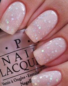 Pink Glitter Wedding Nail Idea